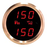 VEI Systems Dual-Display gauge: 150 PSI Fuel pressure and 150 PSI oil pressure (red/silver)
