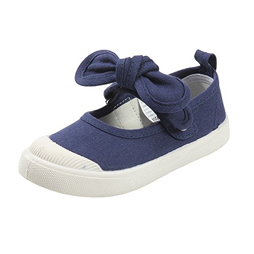 Estamico Girls Princess Bowknot Canvas Shoes Slip-on Mary Jane Flats Sneakers Navy, 2 M US Little Kid - Mary Jane Canvas Sneakers