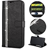 Stysen Wallet Case for iPhone 6S Plus 5.5'',Glitter Leather Case for iPhone 6 Plus 5.5'',Glitter Small Flower Design Stitching Color Diamond Flip Case Cover for iPhone 6S Plus 5.5''/6 Plus 5.5''-Black