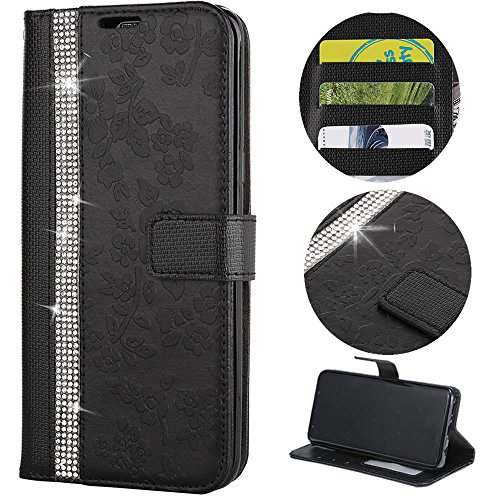 Stysen Wallet Case for iPhone 6S Plus 5.5'',Glitter Leather Case for iPhone 6 Plus 5.5'',Glitter Small Flower Design Stitching Color Diamond Flip Case Cover for iPhone 6S Plus 5.5''/6 Plus 5.5''-Black by Stysen