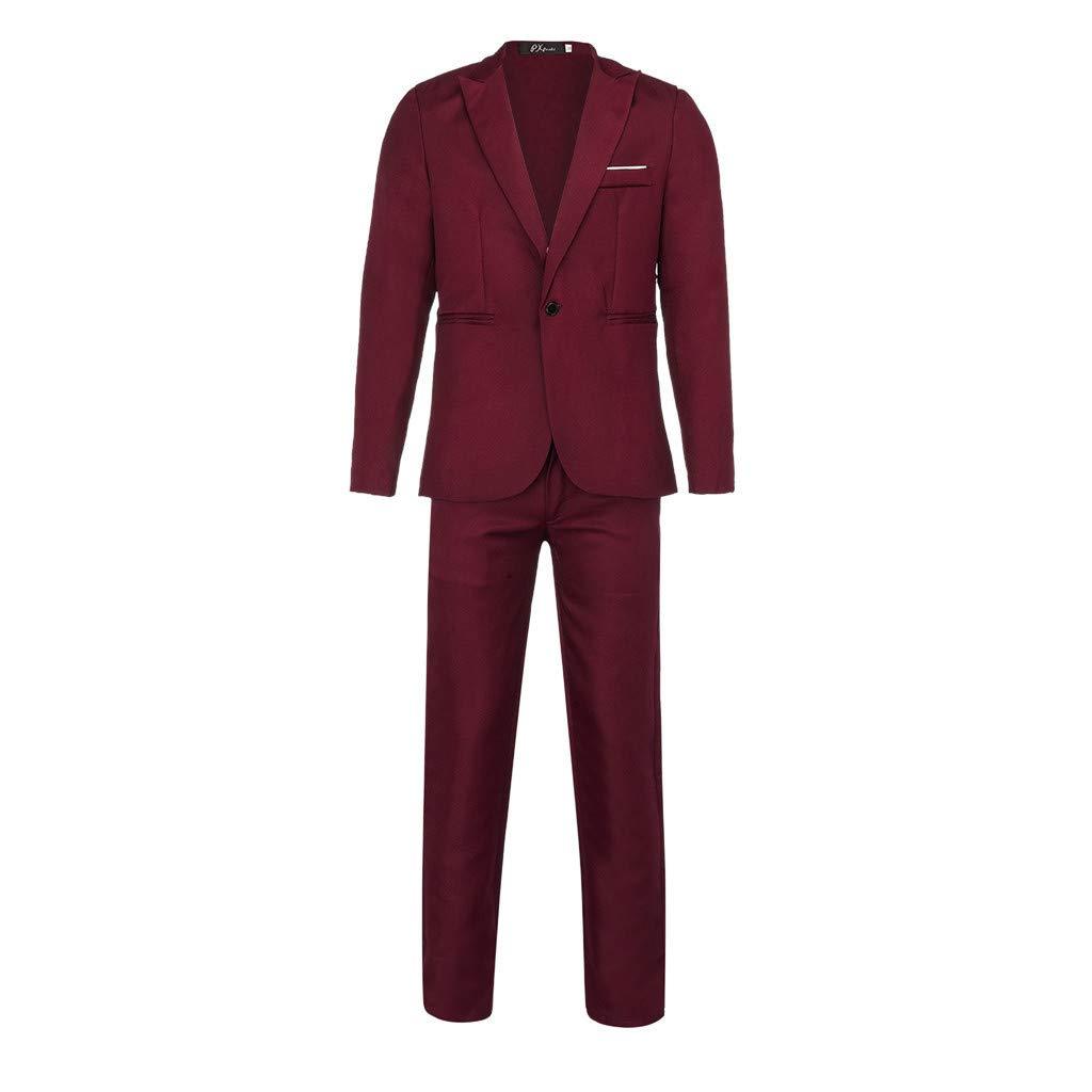 Men' s Button Suit, Fxbar Fashion Men Slim Pure Color Dress Blazer Host Show Jacket Coat & Pant Party Tops
