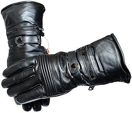 Perrini Motorcycle Riding Biker Black Leather Winter Gloves Warm Soft Interior