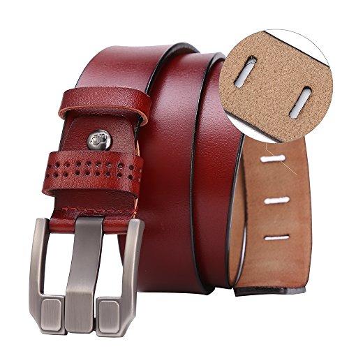 BISON DENIM Classic Belts For Men - Mens Genuine Leather Belt for Dress & Jeans Brown 125cm by BISON DENIM (Image #2)