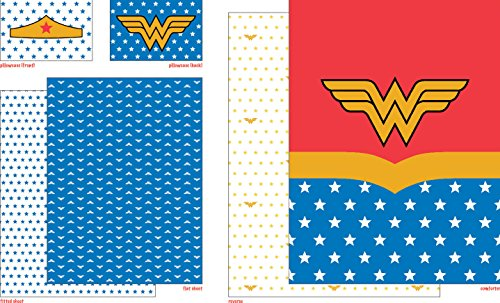 5 Piece Full size Wonder Woman Bedding Set Includes 4pc Full Sheet Set and 1 T/Full Comforter by Wonder Woman (Image #1)'