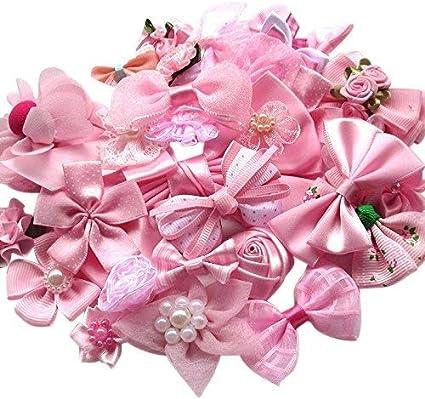 Chenkou Craft Mix Bulk 50pcs Ribbon Flowers Bows Craft Wedding Ornament Appliques A0241 by Chenkou Craft