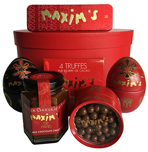 Maxim's de Paris Gourmet All Chocolate gift basket: French Chocolate Candies, Squares & Cream (6 products) 34oz 965g