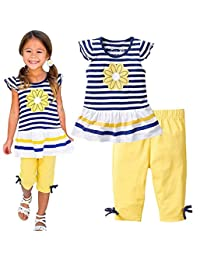 Kids Girls Summer Floral Striped Short Sleeve T-shirt Shorts Pant Casual Outfits