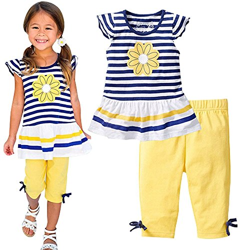 Kids Girls Summer Floral Striped Short Sleeve T-shirt Shorts Pant Casual Outfits size 3T (Yellow)