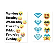 """Fridge Emoji Face Magnets Gift Set, Days of the Week & Wifi 2""""x3"""" Magnets, Refrigerator Kitchen Magnet for Home Decor, Office Gift for Men & Women, School Lockers, or Kids Party Favors-Made in USA"""