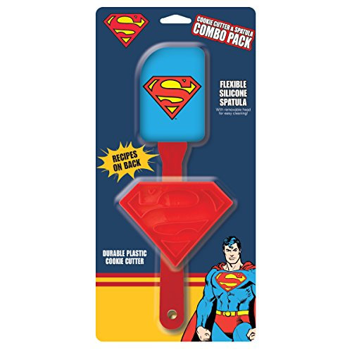 Biscuit Removable Apron - ICUP DC Comics - Superman, The Man Of Steel Silicone Spatula With Removable Head & Plastic Cookie Cutter Combo