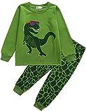 Boys Pyjamas Set for Boy Dinosaur Tshirt Nightwear Cotton Toddler Clothes Kids Sleepwear Winter Long Sleeve Pjs 2 Piece Age 5-6 Years (Green-3, 5-6 Years)