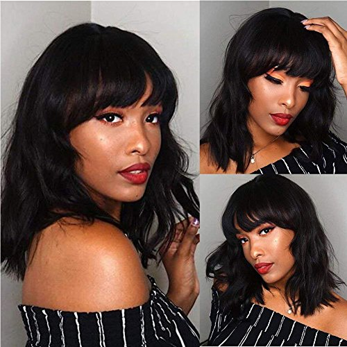 Search : PANEWAY Brazilian Body Wave Wig Human Hair Short Bob Wavy Wig Brazilian Remy Human Hair For African Americans Women Remy Hair 130% Density Natural Color (wig-A02)