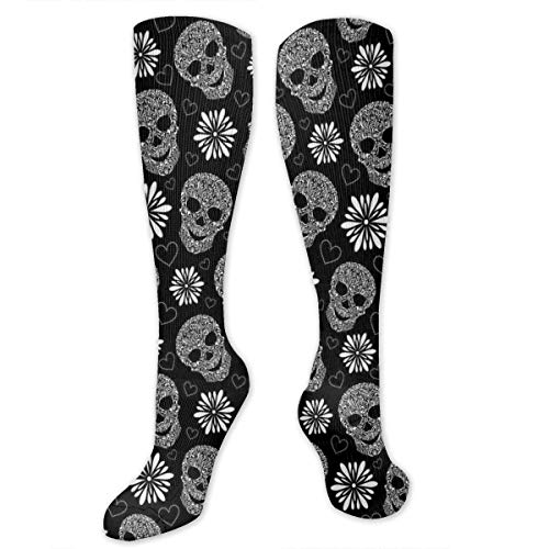 Compression Socks,Monochrome Heart Shapes With Floral Composition Gothic Inspirations -