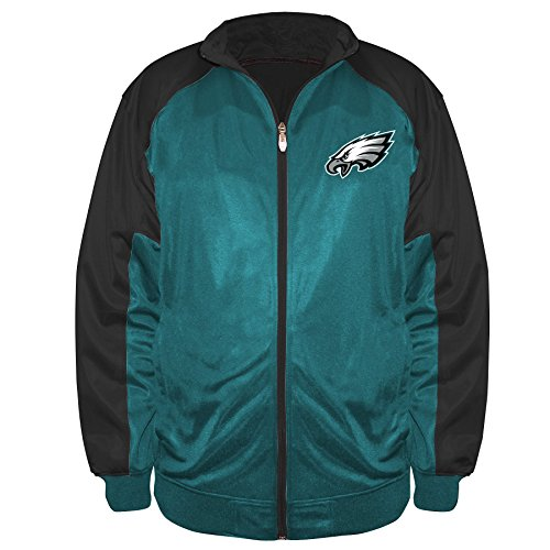 Eagle Logo Shirt (NFL Philadelphia Eagles Men FULL ZIP TRICOT TRACK JACK, TEAL/BLK, 3XT)