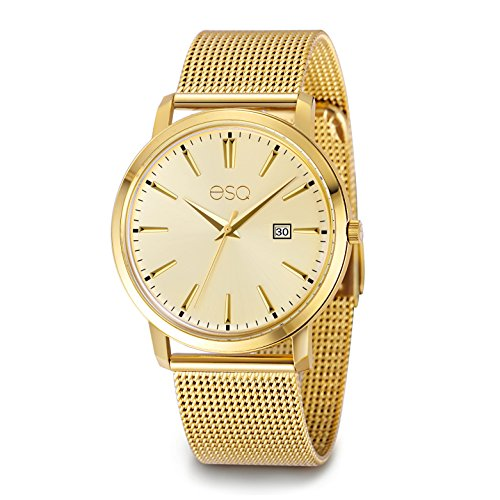 Esq E042 Gold Ip Stainless Steel Watch with 3-Hand/Date Window, Domed Crystal and Stainless Steel Mesh (Esq Gold Watch)
