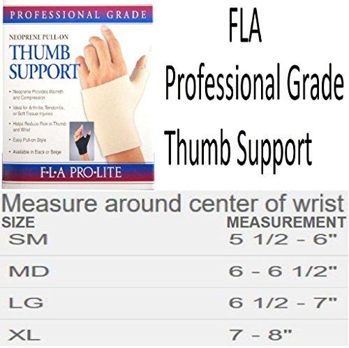 FLA Orthopedics Prolite Neoprene Pull on Thumb Support, Black, Medium by FLA Orthopedics