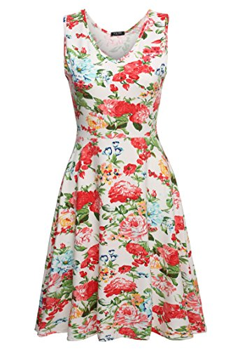 ACEVOG Women Summer Dress Floral Printed Pattern Sleeveless Mini Dress White L