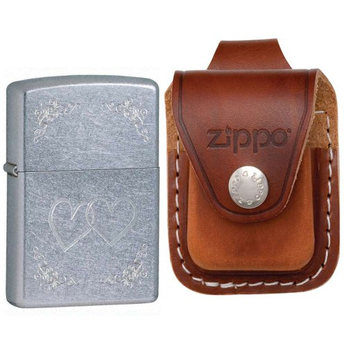 Zippo 24016 Classic Street Chrome Heart to Heart Windproof Pocket Lighter with Zippo Brown Leather Loop Pouch