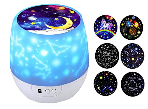 Kids Night Light Star Projector with 360 Degree Rotation Night Lighting lamp for Bedroom Best Slippers for Girls Boys (Flim-6 Set)