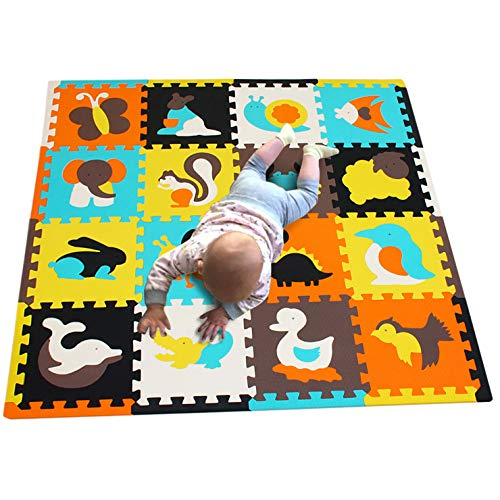 Edu Mat - MQIAOHAM 16pcs with Long Edges Baby Soft playmat Foam Room Floor mats for Kids Girl Yoga Rug Play-mat Babe Playing Infants edu Child Animal Colorful infantino Puzzle mat JS049Z