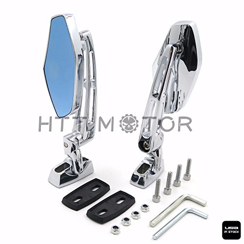 HTTMT MT347- Chrome Adjustable Base Mirrors Rearview Compatible with Suzuki Hayabusa GSX1300R 99-12