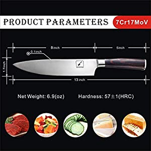 imarku Chef Knife – Pro Kitchen Knife 8 Inch Chefs knife High Carbon German Stainless Steel Sharp paring knife with Ergonomic Handle