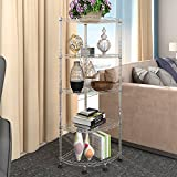 "Lifewit Corner Shelf 5 Tiers Adjustable Metal Storage Wire Shelving Unit, 13.8"" L x 13.8"" W x 47.2"" H Corner Rack for Living Room, Bathroom, Kitchen, Silver"