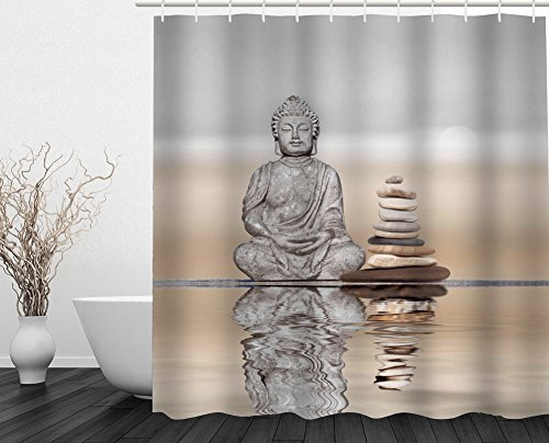 Buddha meditation Art Pattern Home Bath Decorative Curtain 71''(w) x 71''(h) Inches by Crazy Cart