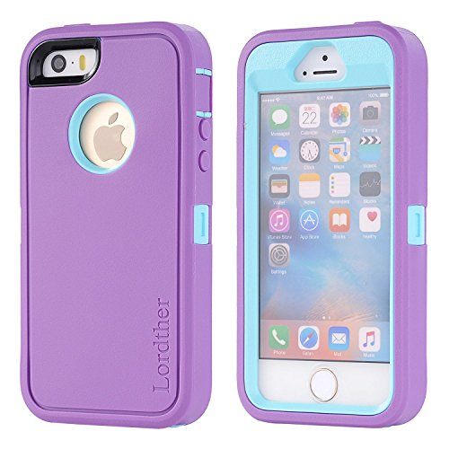 iPhone SE Case, Lordther [ShieldOn Series] [Military Grade Drop Test] Hybrid Synthetic Rubber TPU Covers with [Bonus Screen Protector] Only for iPhone SE 5SE 5 5s (Purple Blue) ()