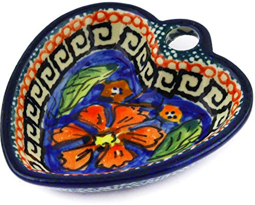- Polish Pottery 3-inch Heart Shaped Bowl (Poppies Theme) Signature UNIKAT + Certificate of Authenticity