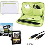 Vegan Leather Sleeve 2 Tone For Nokia Lumia 2520 10.1-inch Tablet + Car Mount + Aux Cable