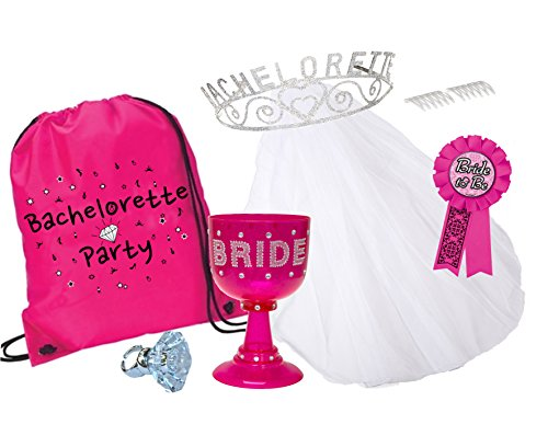 Bachelorette Party Kit in a Bag - 6 piece (Tiara, Veil, Novelty Light-Up Ring, Bride-to-Be Ribbon, Plastic Bride Goblet, Bag)
