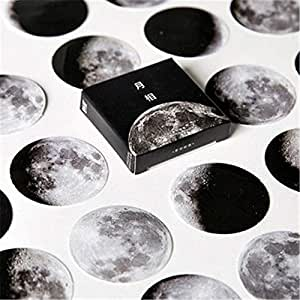 45pcs/Pack de dibujos animados negro blanco luna pegatinas