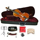 "Merano MA400 16"" Hand Made Solid Wood Ebony Fitting Viola with Case, Bow+2 Sets of Strings+2 Bridges+Shoulder Rest+Black Music Stand+Metro Tuner+Rosin+Mute"