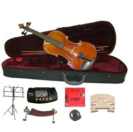 Merano MA400 13'' Hand Made Solid Wood Ebony Fitting Viola with Case, Bow+2 Sets of Strings+2 Bridges+Shoulder Rest+Black Music Stand+Metro Tuner+Rosin+Mute by Merano