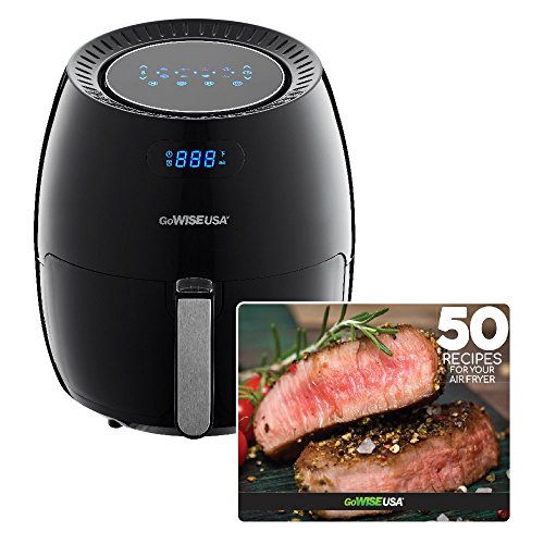 GoWISE USA 5.8-Quart XL 8-in-1 Digital Touchscreen Air Fryer, Black GW22831 + 50 Recipes For your Air Fryer Book