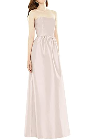 Chic Bride Simple Strapless Prom Dress Open Back Pearl Evening Dress Floor Length at Amazon Womens Clothing store: