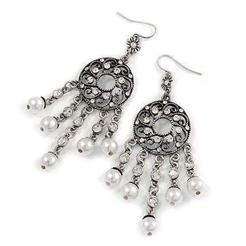 Marcasite Ornate Synthetic Pearl Chandelier Earrings (Antique Silver Tone) - 9cm ()