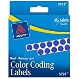 Avery(R) Color-Coding Permanent Round Labels, 1/4in. Diameter, Dark Blue, Pack Of 450