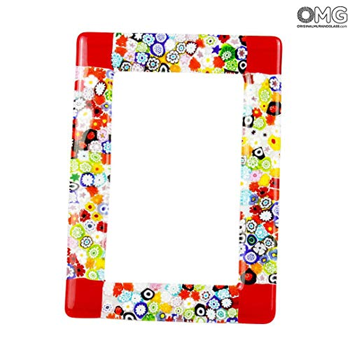 Original Murano Glass OMG Photo Frame Fantasy Red with Millefiori - Fused Glass Medium- 25x19 cm 9.8 x 7.4 inc
