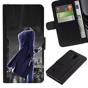 // PHONE CASE GIFT // Moda Estuche Funda de Cuero Billetera Tarjeta de crédito dinero bolsa Cubierta de proteccion Caso Samsung Galaxy Note 4 IV / Joker City /