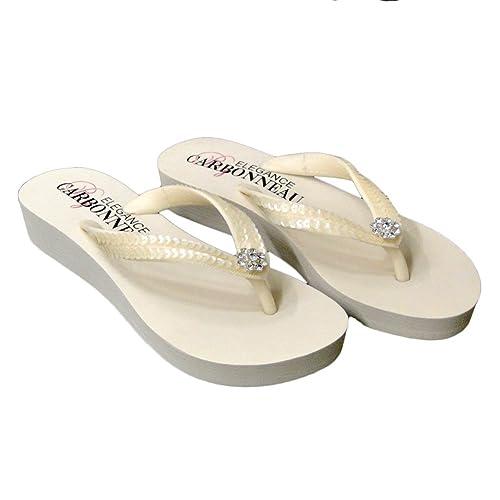 7ed3dcc6f607 Elegance by Carbonneau Summer Women s Low Heel Flip Flop Ivory Foam Rubber  Sandal - 5 M