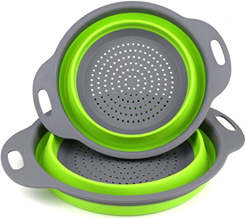 Set of 2 Food Grade Silicone Kitchen strainers collapsible