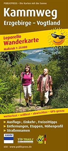 kammweg-erzgebirge-vogtland-leporello-wanderkarte-mit-ausflugszielen-einkehr-freizeittipps-strassennamen-wetterfest-reissfest-abwischbar-gps-genau-1-25000-leporello-wanderkarte-lep-wk