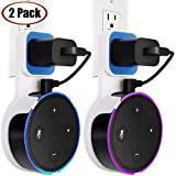 Echo Dot Wall Mount Case Holder Stand for Amazon Alexa Dot 2nd Generation TOOVREN Space-Saving Accessories for Home Speaker Without Mess Wires or Screws - Short Charging Cable Included (2 Pack)