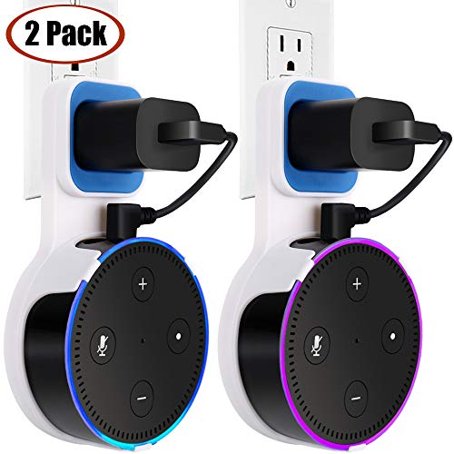 Outlet Dot Wall Mount Stand Holder for Smart Home Voice Assistants 2nd Generation TOOVREN Space-Saving Hanger Case for Smart Speakers - Short Charging Cable Included (2 Pack)