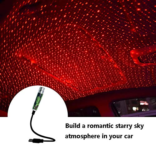 Car USB Roof Star Projector Lights, Pikado Flexible Romantic USB Ambient Atmosphere Lamp for Cars Ceiling, Red