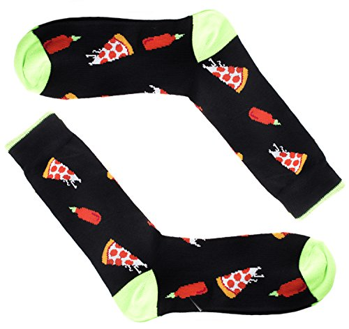 Colorful Mens Funny Dress Socks - Pizza & Sriracha -