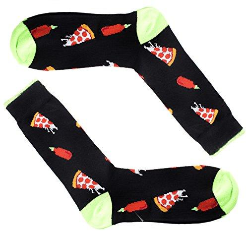 Colorful Mens Funny Dress Socks - Pizza & -