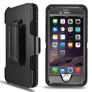 caso iPhone 6, 6S iPhone Funda mblai® Defender Layer duro [4] [] resistente goma Shock absorbente [] [] [gota ensayo Built in-Screen Protector Max protección []] caso de cobertura para iPhone 6 4,7 pulgadas/6S [] () negro